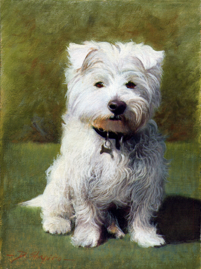An oil painting of a West Highland Terrier called Robbie