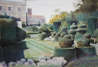A painting of a chess set made out of topiary set out on a garden lawn.
