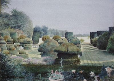 A painting of a chess set made out of topiary set out on a garden lawn with a ha-ha in the middle distance.