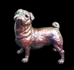 Bronze study of a standing Pug dog