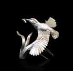 Bronze sculpture of a Kingfisher in flight with a fish