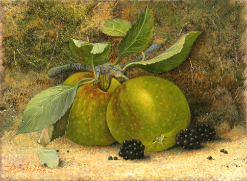 A still life oil painting of a pair of Granny Smiths apples with Blackberries with a mossy background
