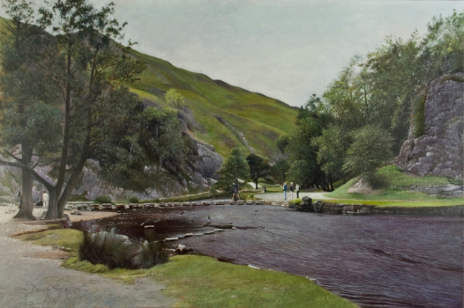 'The Stepping Stones' Dovedale Derbyshire Oil on canvas 16 x 24 ins
