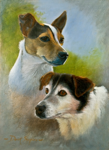 An oil painting of two Jack Russel dog head studies
