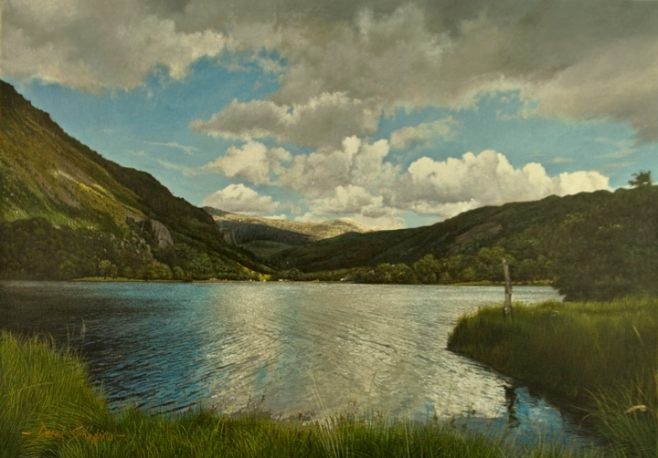 An oil on canvas landscape painting of a view across Llyn Gwynant to Glyder Mountains in Snowdonia National Park Gwynedd North Wales
