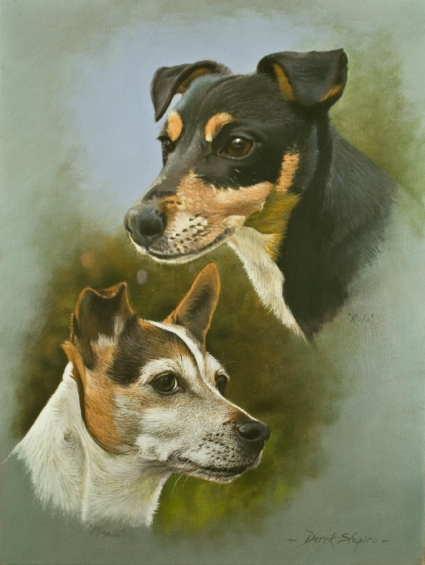 An oil on canvas painting of two Jack Russel dogs, Rolo in the top right hand corner and Minnie in the bottom left corner.