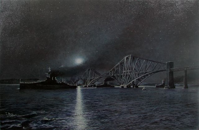 An oil on canvas seascape painting if the super dreadnought, HMS Warspite, during the first world war. Seen here coaled up as she passes the forth bridge, in moonlight, on her way to the battle of Jutland