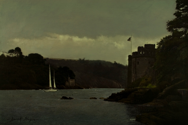 Landscape painting of Dartmouth Castle with a yacht sailing in with squally weather on the way