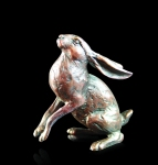 Bronze sculpture of a Hare gazing at the moon