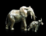 Bronze sculpture of a Cow elephant following a calf