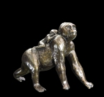 Bronze sculpture of a Gorilla carrying a baby on it's back
