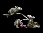 Bronze sculpture of two Mice by a sprig of Blacberries
