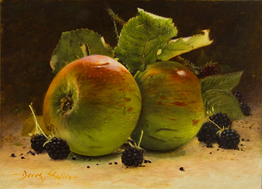 An oil painting of two Cox's apples with blackberries