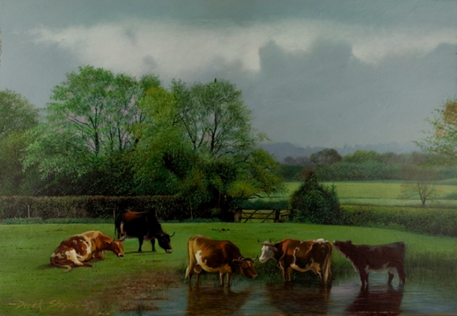 Rural landscape painting  of cattle watering