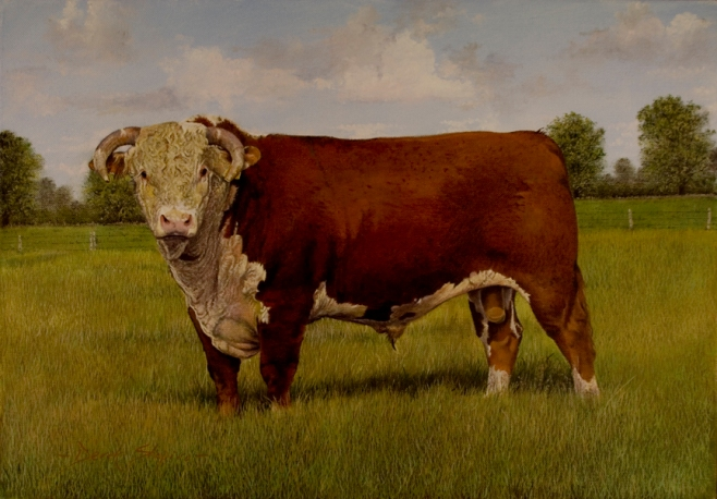 An oil painting of a Hereford Bull standing in a field