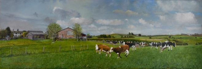 An oil painting of a farmhouse in yorkshire with cows being driven down the lane and let out into the field.