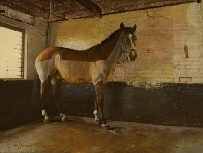 Oil painting of a horse standing in a room being prepared for tack
