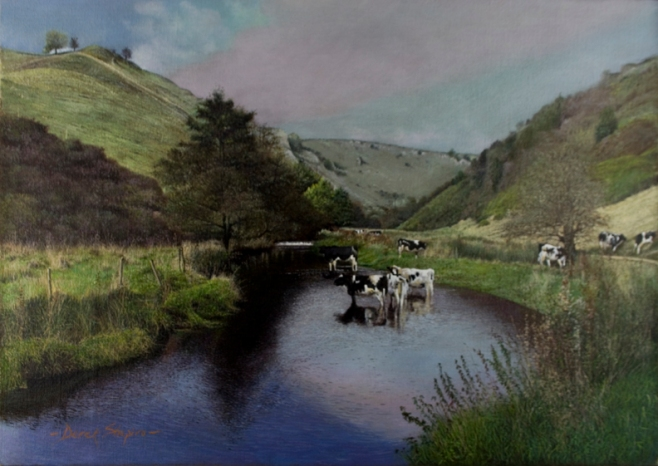 Landscape oil painting of cattle watering in the River Dove in Mill Dale Derbyshire