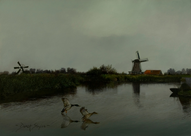 An oil painting of a windmill in the early morning with a pair of Mallard ducks landing in the dyke