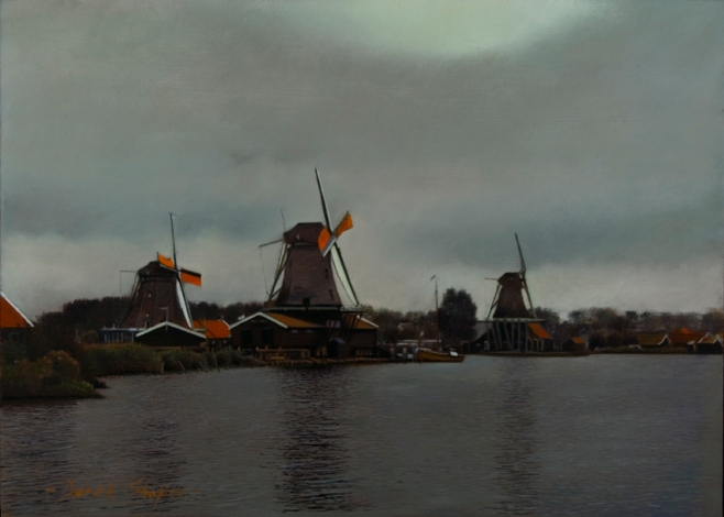 An oil painting of three windmills in