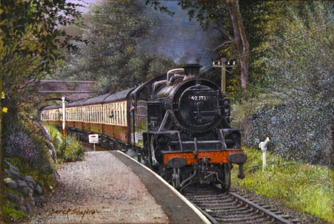 An oil painting of a steam engine of the Lakeside Haverthwaite heritage railway stopping off at the Newby Bridge Halt railway station and on it's way to Lake Windermere