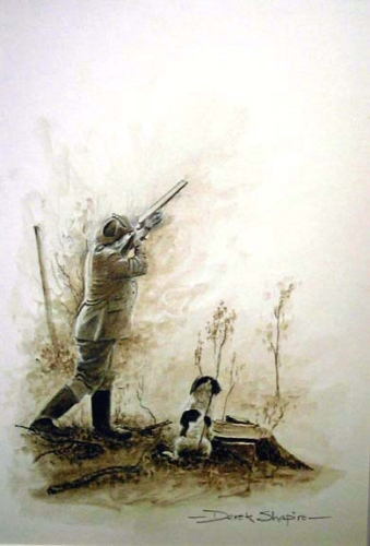 A watercolour sketch of a man shooting pheasants with a spaniels sitting eagerly by