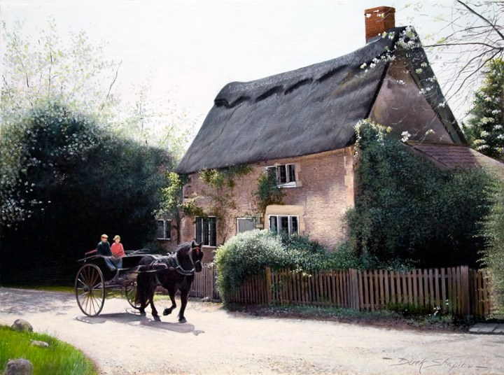 An oil painting of a horse drawn carriage on a bright sunny day passing a Gloucestershire cottage in a quiet backwater