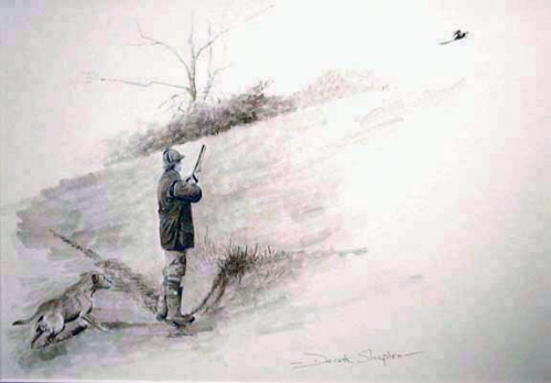 A study of a gun on a pheasant drive with his Yellow Labrador dog ready for a retrieve