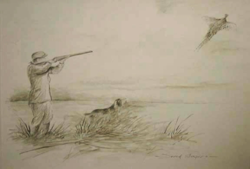 A pencil and Sepia watercolour sketch of a shooting man and his Spaniel hunting game birds