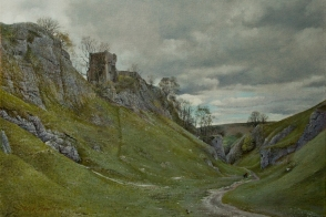 Landscape oil painting on canvas of a castle ruin in Cave Dale in the Peak District of Derbyshire