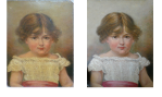 An mid to late restoration of a Victorian oil painting of a young girl