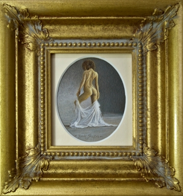 A minature painting in oil on paper of a classical nude model
