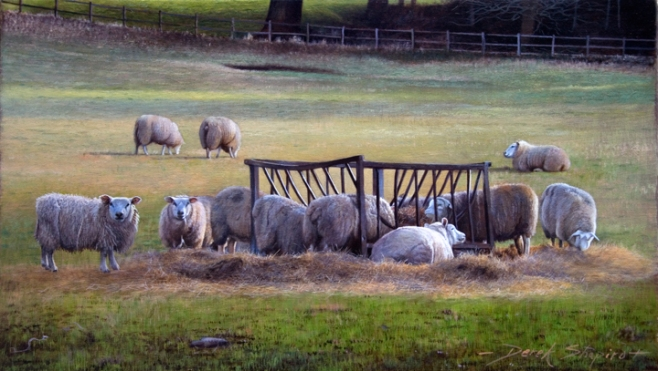 An oil painting of Texal Sheep feeding at a hay feeder