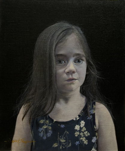 A head and shoulders oil portrait of a child girl called Amelia