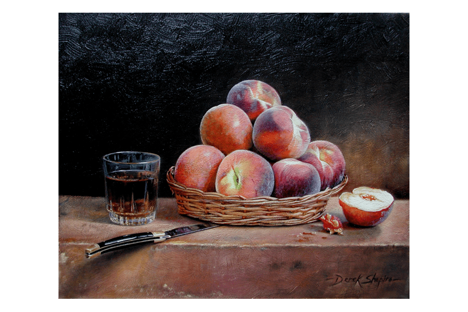 An oil painting on canvas of a basket of peaches with a French knife and a glass of peach brandy set on a stone plinth