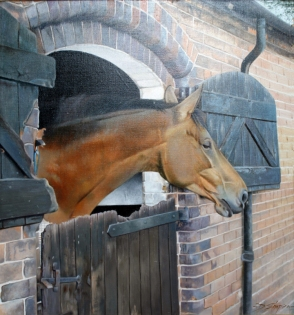An oil painting of a horse looking out over a stable door
