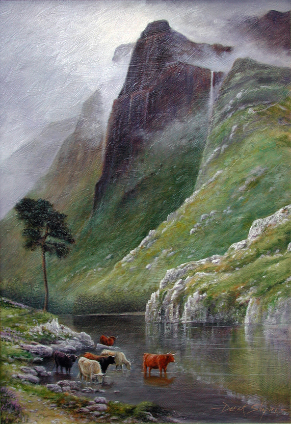 A landscape painting of Highland Cattle watering in a Loch underneath the mountains of Ben Venue on the East of Scotland