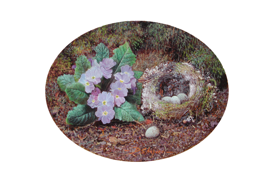 An oval still life oil painting of a birds nest with Primulas lying on a mossy ground