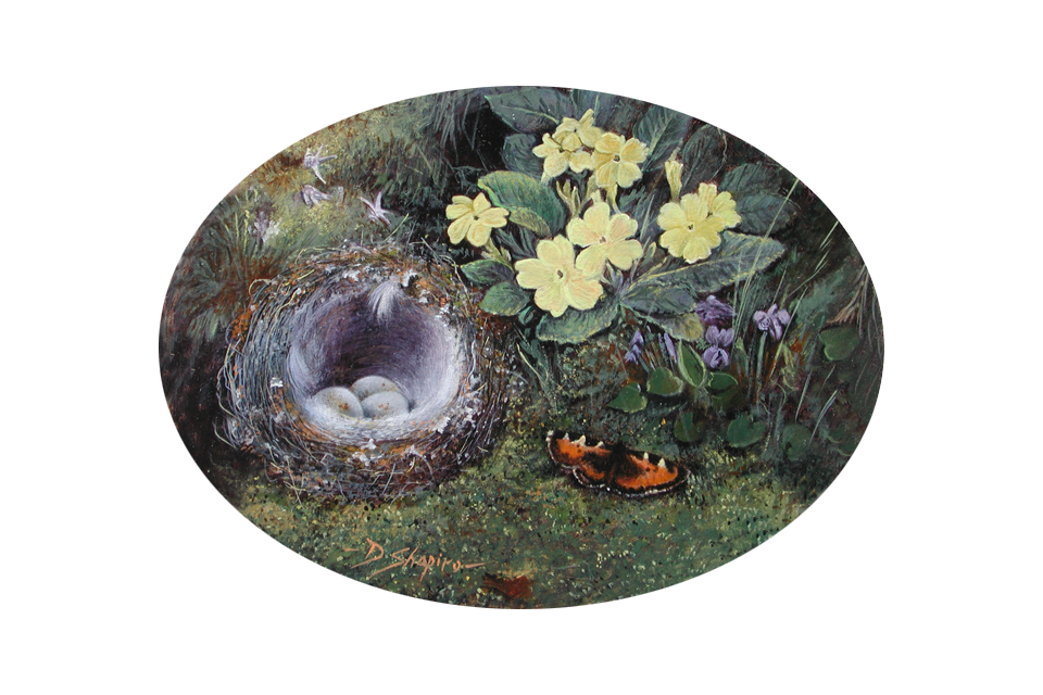 An oval oil painting of a birds nest with primroses and a butterfly on a mossy ground