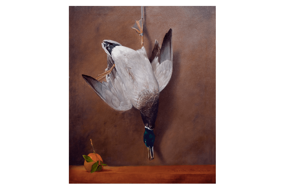 A still life oil painting of a hanging Mallard Drake Duck with an orange on a stone slab