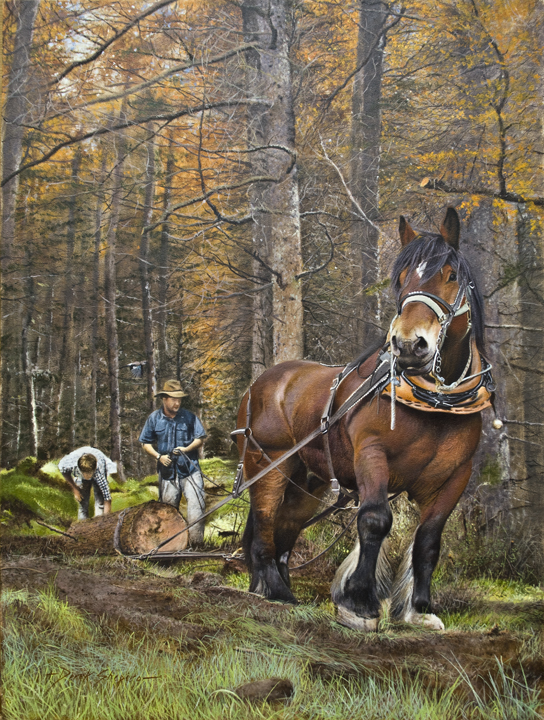 An oil painting on a panel of a heavy horse in a forest pulling logs which is called tushing