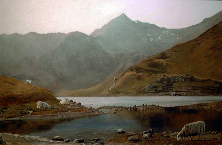 A landscape oil painting on canvas of Snowdon in North Wales depicting a scene of the mountain from the miners path looking across the lake of Llyn Lldaw