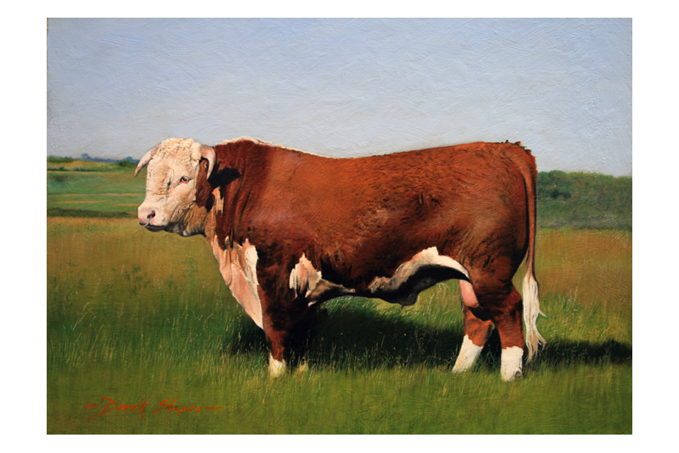 An oil painting on a panel of a pize Hereford Bull standing in a field