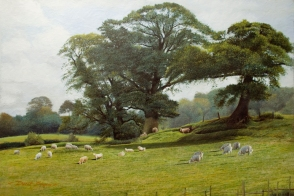 An oil painting of a rural landscape with three oak trees and sheep grazing in the field