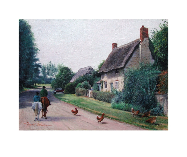 An open print of a thatched cottage in a rural hamlet of Oxfordshire with two horse riders passing by as a figure looks on at the cottage gate. Chickens in the foreground.
