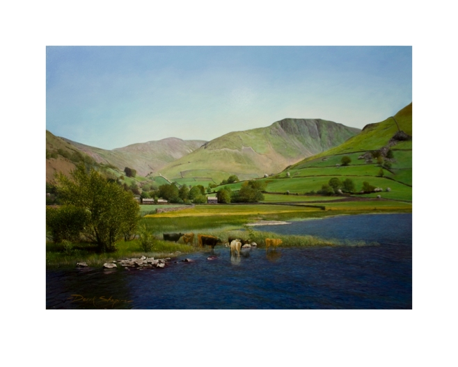 A signed Limited Edition Giclee print of cattle drinking from the lake of Brothers Water which is situated in the Cumbrian Lake District