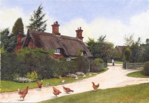 An oil painting on a panel of a thatched cottage in a small hamlet with chickens feeding in the foreground.