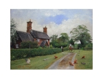 An open print of a thatched cottage situated at the bottom of a country lane with chickens in the foreground and a man on a horse chatting to a woman at the cottage gate.