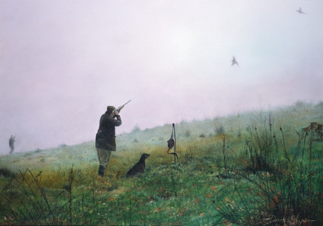 An oil on canvas painting of a fieldsports man shooting pheasants on the second drive of a pheasant shoot with his labrador Peg dog sitting by his side