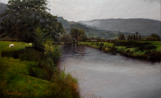An oil on canvas landscape painting of a River Scene in North Wales